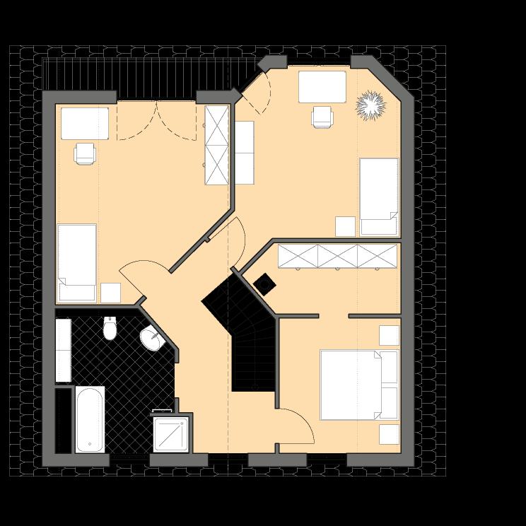 Einfamilienhäuser | Haus Schwerin, Grundriss Obergeschoss