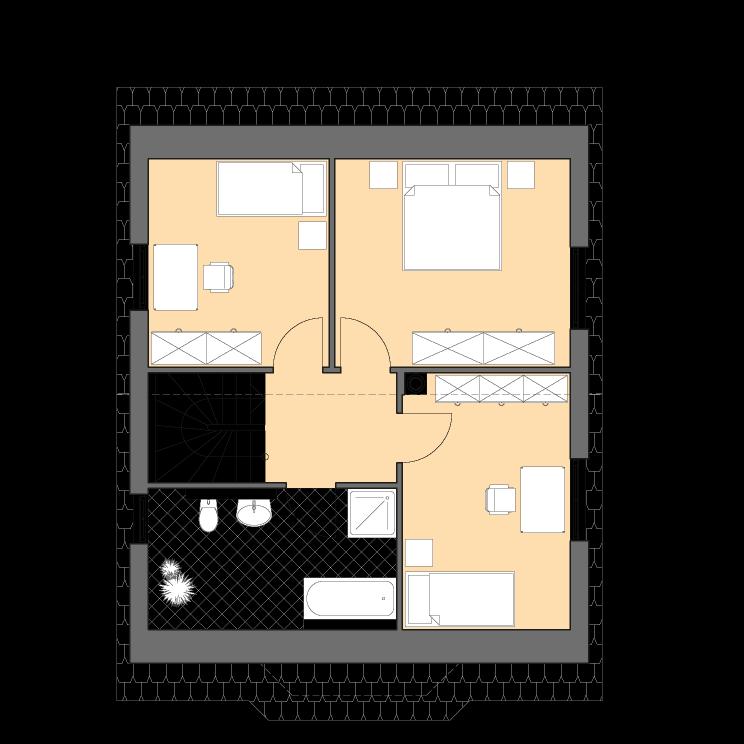 Einfamilienhäuser | Haus Wismar, Grundriss Dachgeschoss