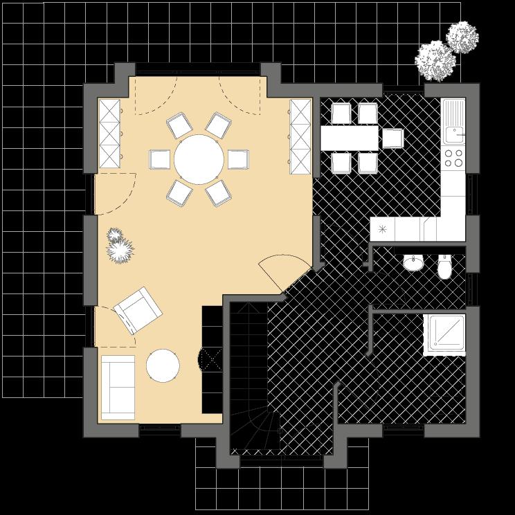 Einfamilienhäuser | Landhaus 124, Grundriss Erdgeschoss