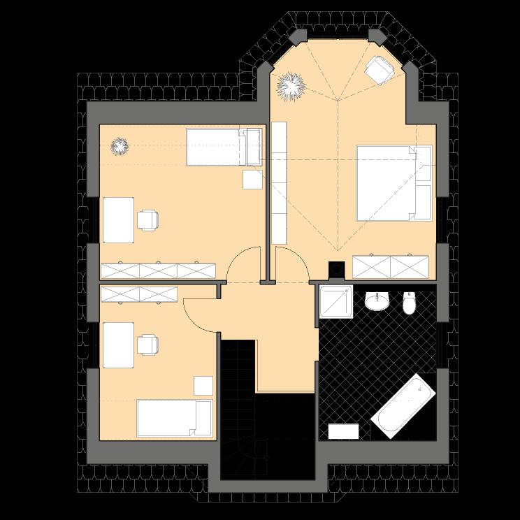 Einfamilienhäuser | Turmhaus 152, Grundriss Dachgeschoss
