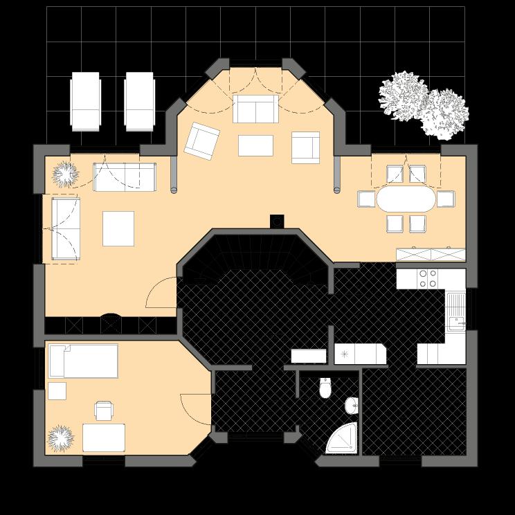 Einfamilienhäuser | Turmhaus 199, Grundriss Erdgeschoss