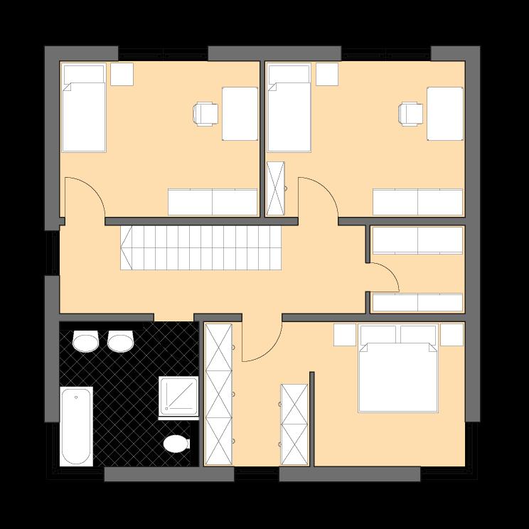 Moderne Häuser | Cubatur 145, Grundriss Obergeschoss
