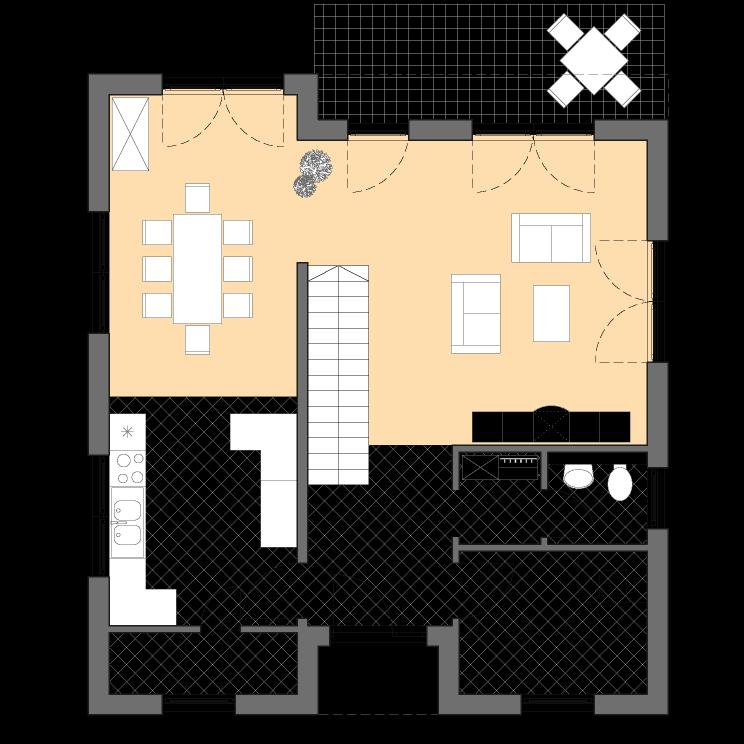 Moderne Häuser | Cubatur 155, Grundriss Erdgeschoss