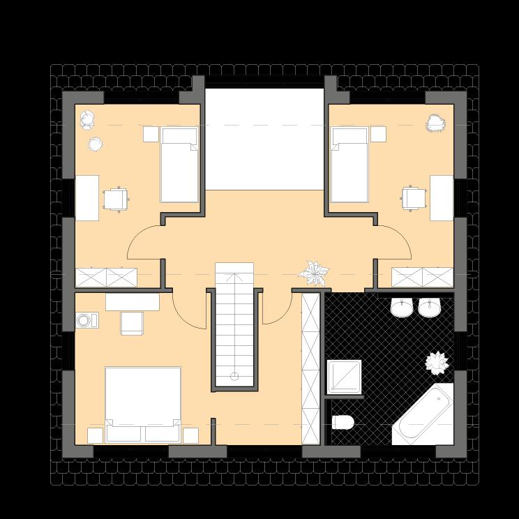 Moderne Häuser | Haus Hamburg, Grundriss Obergeschoss