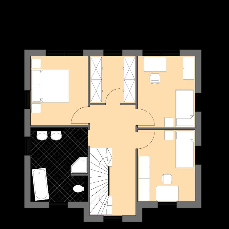 Moderne Häuser | Pultus 127, Grundriss Obergeschoss