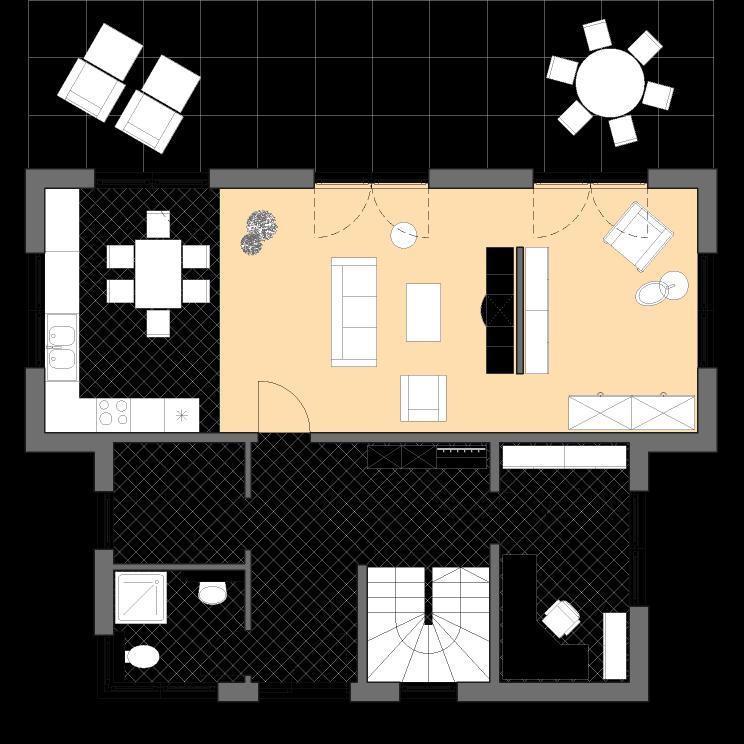 Moderne Häuser | Pultus 158, Grundriss Erdgeschoss