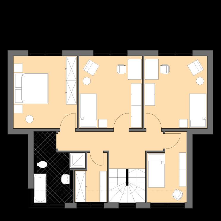 Moderne Häuser | Pultus 158, Grundriss Obergeschoss