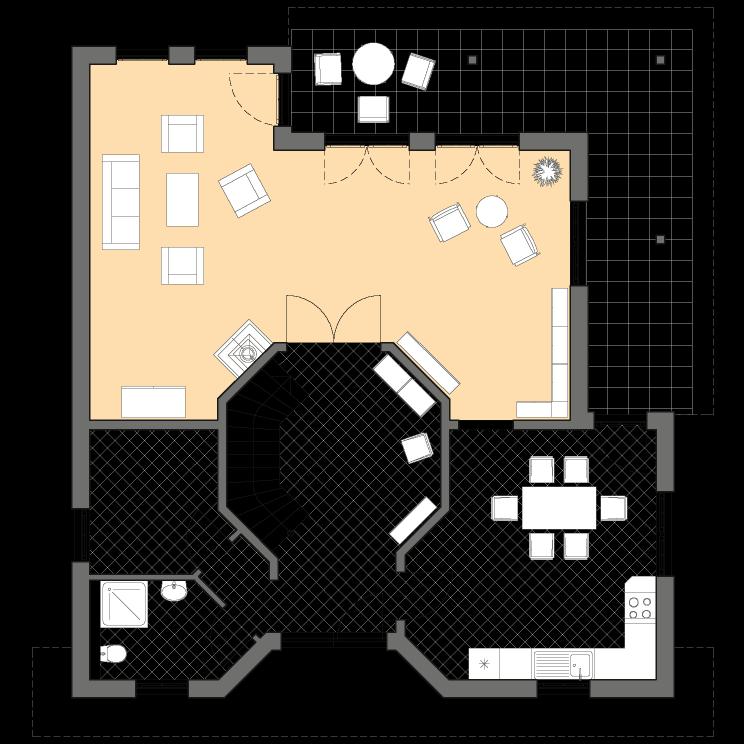 Stadtvillen | Villa Meran, Grundriss Erdgeschoss