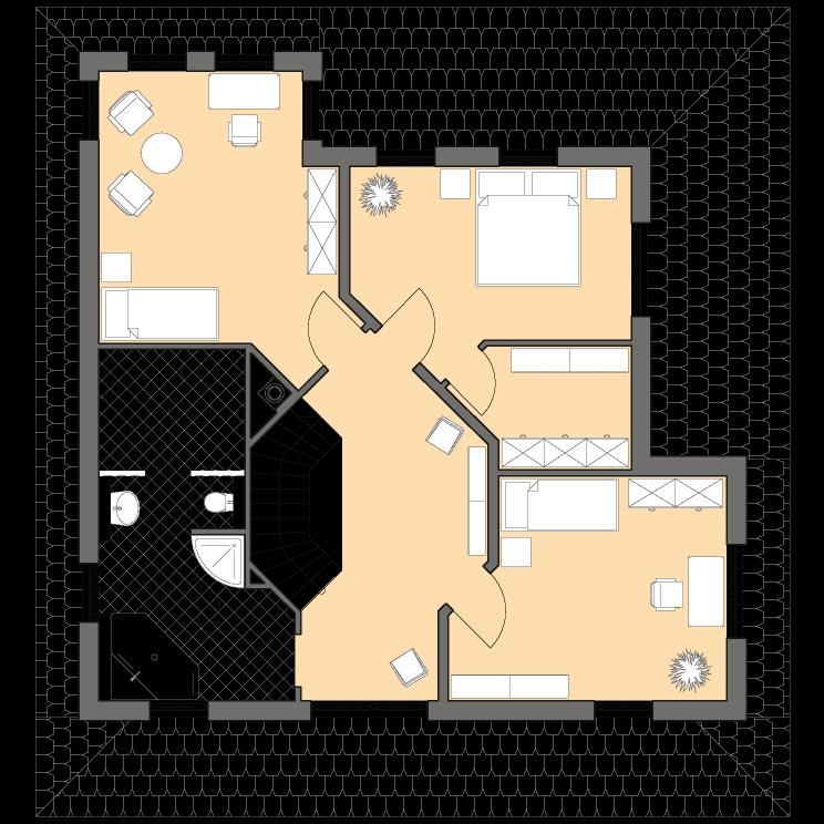 Stadtvillen | Villa Meran, Grundriss Obergeschoss