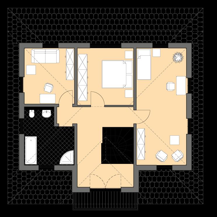 Stadtvillen | Villa Ravenna, Grundriss Obergeschoss