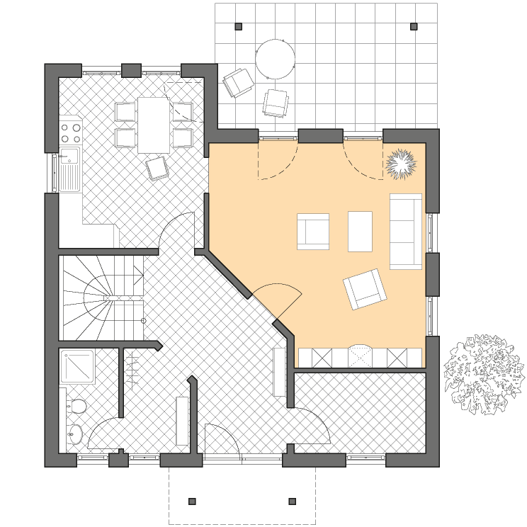 Stadtvillen | Villa Verona, Grundriss Erdgeschoss