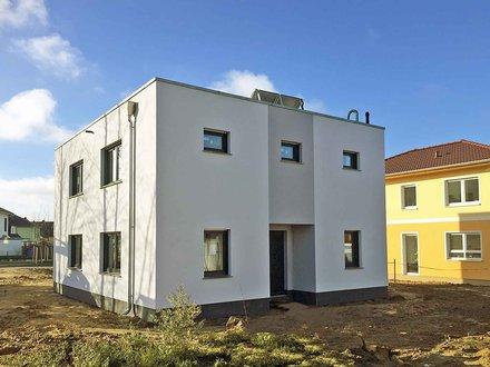 Moderne Häuser | Cubatur 155_Eingang eingerückt_zweifarbig_Gas/Solar-Technik_1931