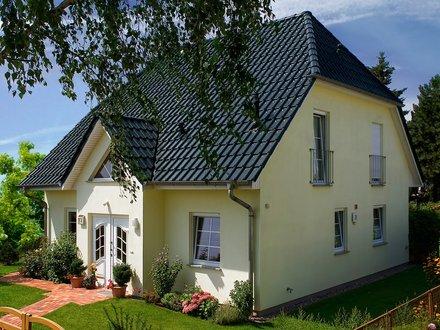 Einfamilienhäuser | Landhaus 142 (Putzfassade, Hauseingang schräg)