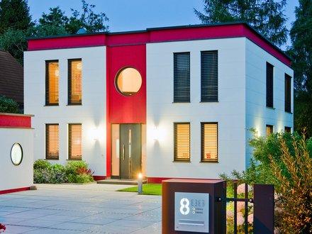 Moderne Häuser | Cubatur (Freie Planung, Putzfassade), Hauseingang mit Garage