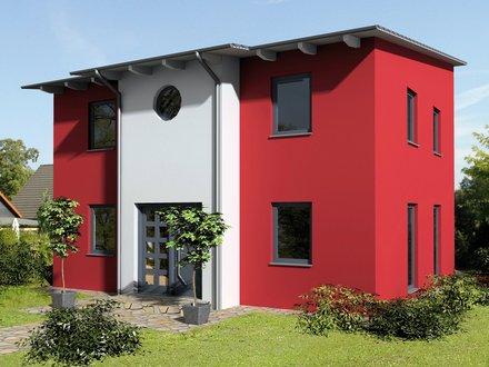 Moderne Häuser | Pultus 127 (Putzfassade), Ansicht Eingang, zweifarbiger Anstrich