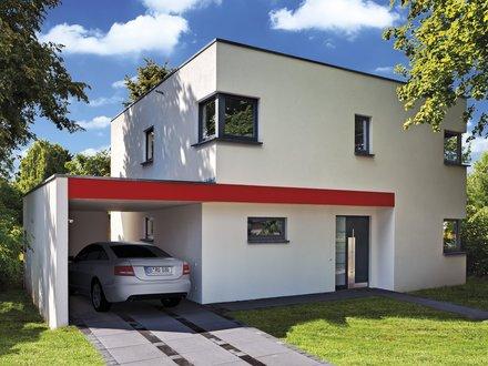 Moderne Häuser | Cubatur 145 (Putzfassade), Frontalansicht auf Hauseingang und Carport mit Auto