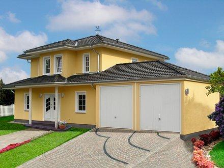 Stadtvillen | Villa Meran (Putzfassade), Schrägansicht Hausfront mit Doppelgarage