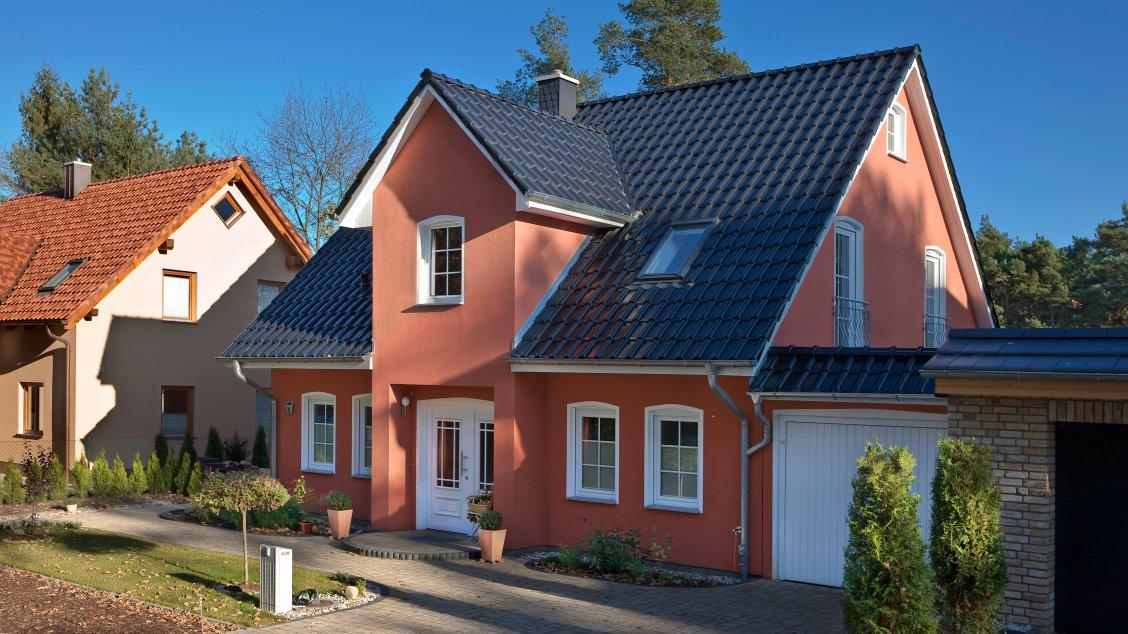 Einfamilienhäuser | Stadthaus 141 (Putzfassade), Hauseingang schräg