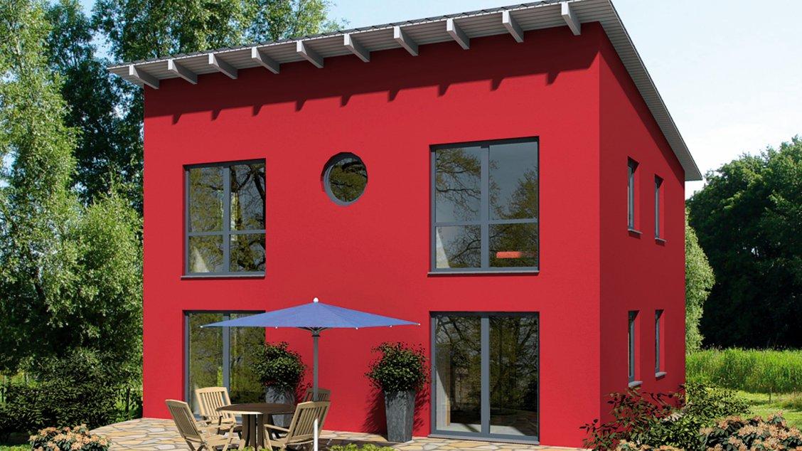 Moderne Häuser | Pultus 127 (Putzfassade), Garten- und Rückansicht