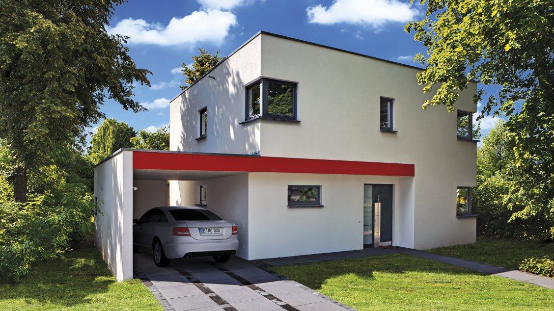 Moderne häuser cubatur 145 putzfassade frontalansicht auf