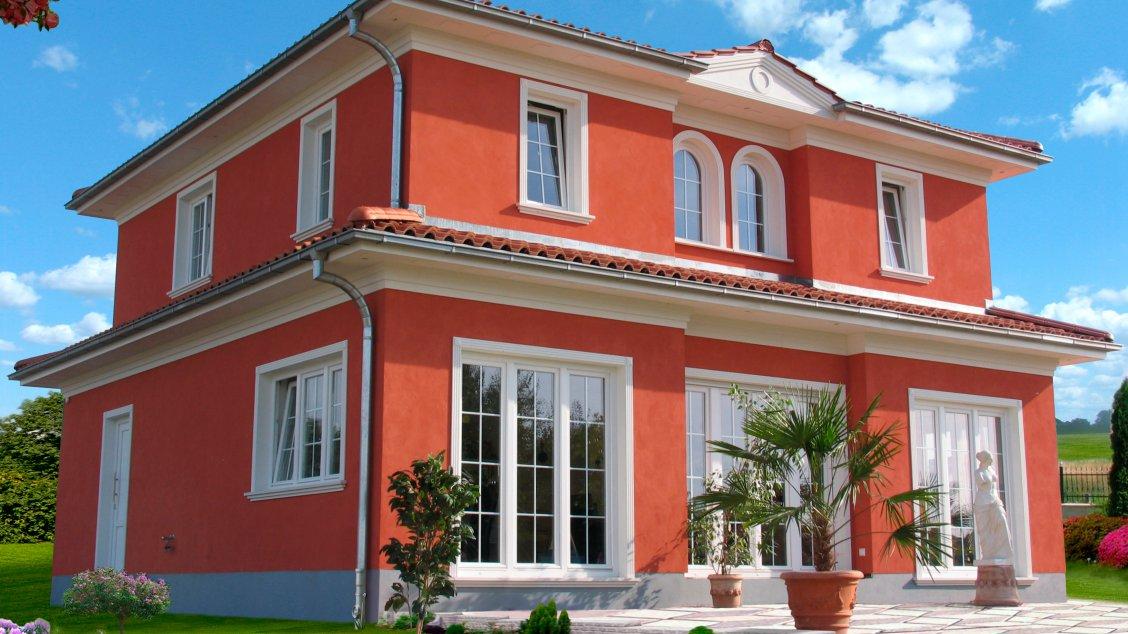 Stadtvillen | Villa Varese (Putzfassade), Schrägansicht Garten Froschperspektive
