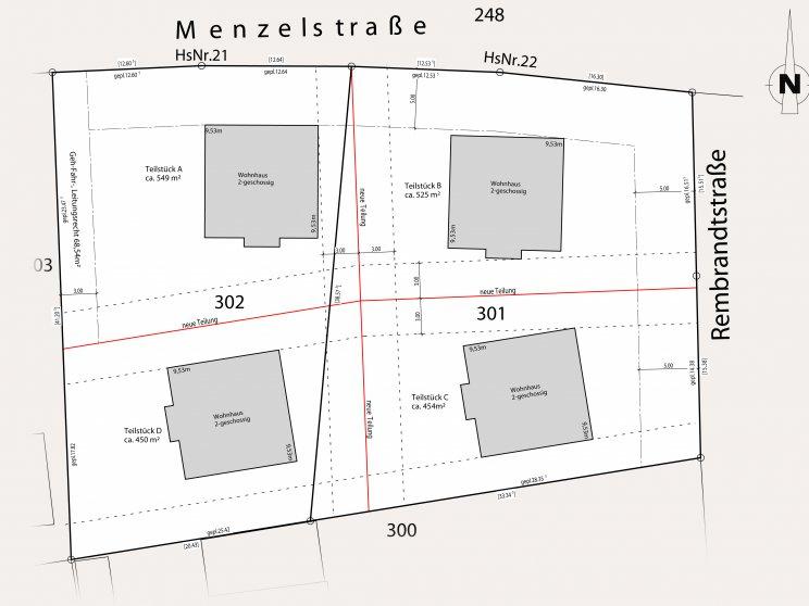 Roth Massivhaus | Grundstücke: Lageplan Teilungsentwurf, Häusersiedlung Fredersdorf-Vogelsdorf