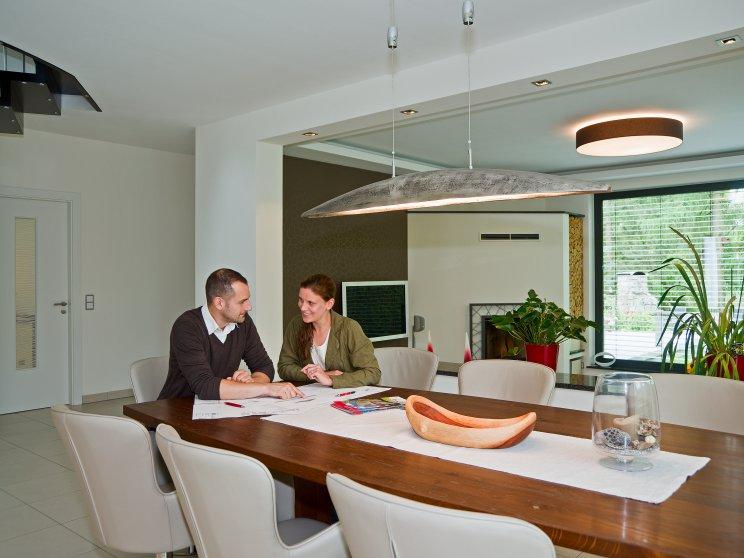 Moderne Häuser | Cubatur (Freie Planung, Putzfassade), Innenansicht Wohnzimmer