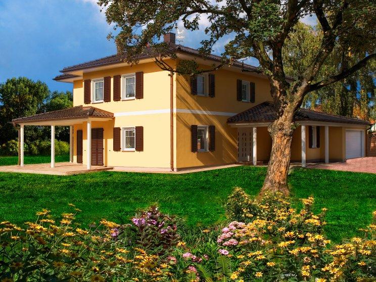Stadtvillen | Villa Ravenna (Putzfassade), schräge Gartenansicht